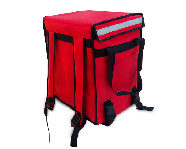 Red Color 65L Food Delivery Thermal Bag - Back View